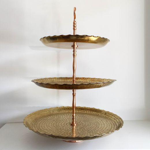 3 Tier Gold Rosette Stand