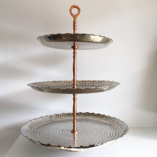 3 Tier Silver Rosette Stand